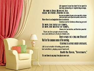 """GMDdecals® Classic Literature Books Quote Set LARGE Wall or Stairs Vinyl Wall Decor Decals [GLOSSY BLACK]- 24"""" x 2-4"""" each quote -Adhesive High Glossy Vinyl [3mil] **Made In USA**"""