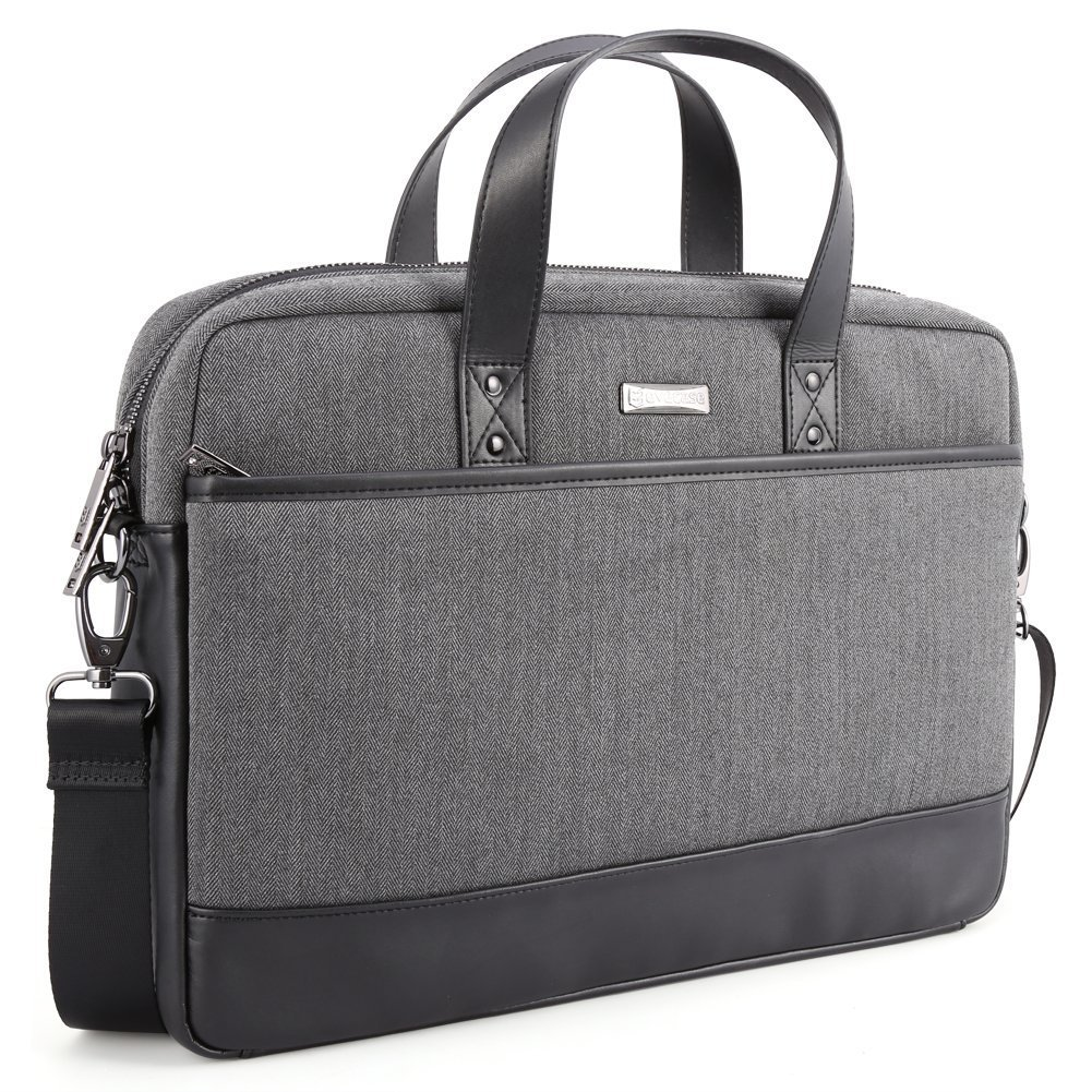 15.6 inch Laptop Shoulder Bag, Evecase Fabric and Leather Modern Business Tote Briefcase Laptop Messenger Bag with Accessory Pockets ( Fits Up to 15.6-inch Macbook, Laptops, Ultrabooks) - Black / Gray