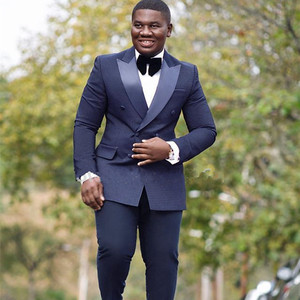 HD127 Navy Formal Suit Men Double Breasted Slim Fit 2018 New Design Custom Made 2 Pieces Wedding Suit Men Groom Tuxedo Prom Suit