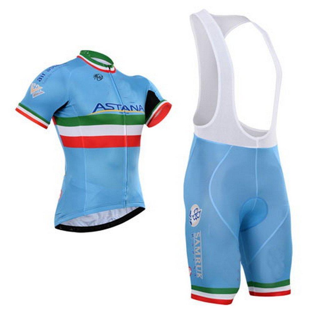 Get Quotations · Astana Cycling Jersey and Bib Shorts Set Blue Outdoor  Sports Pro Team Men s Short Sleeve Summer 3902f41dc