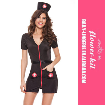 3f51de389302 Adult Ladies Sexy Black nurse cosplay Woman Costume For Halloween cosplay