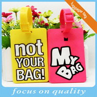 high quality customized Not your bag! My bag! yellow and pink id pvc luggage tag vinyle name label for tourist