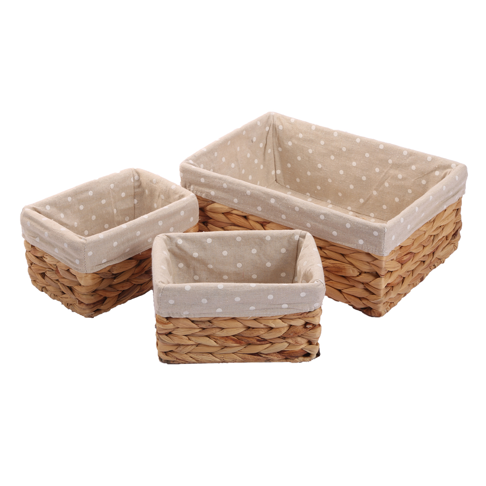 KINGWILLOW, Handmade Water hyacinth basket small storage bins for shelf фото