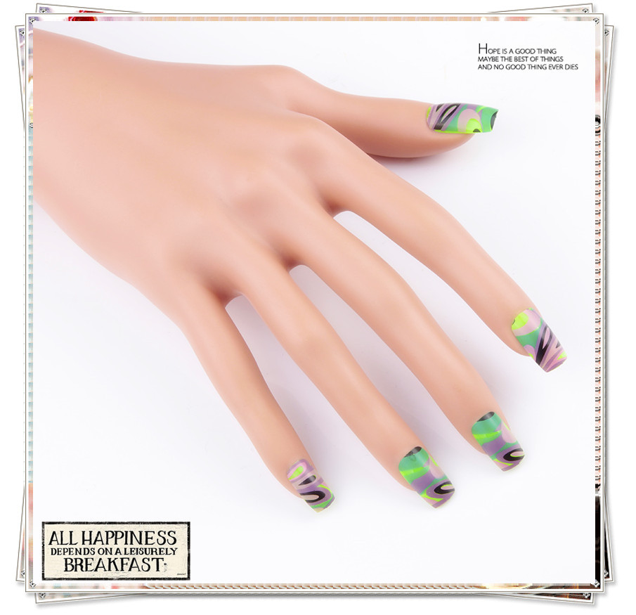 Buy French Stiletto Fake Nail Tips Full Cover Acrylic Artificial ...