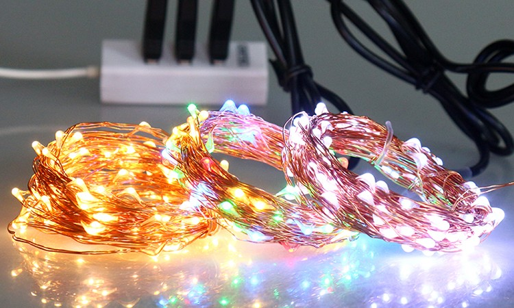 Christmas Lighting RF Controlled 5V USB 33FT 10M 100 LEDs Copper Wire Warm White Remote LED String Lights