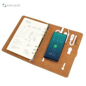 Custom Logo Pu Leather Wireless Charging Notebook Diary With 8000mah Power Bank