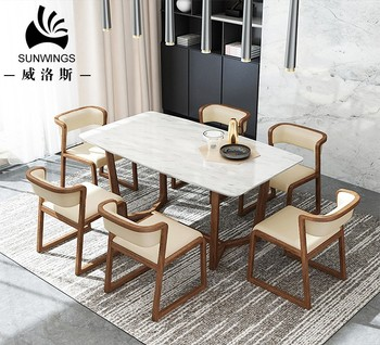 Luxury Granite Top 48 Inch Round Dining Table With Wood Leg Set