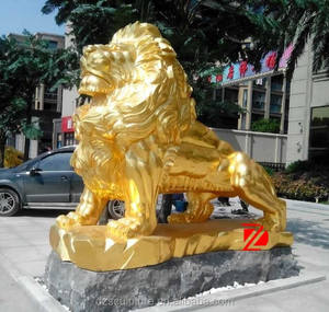 Hot sell gold color metal lion statues for sale