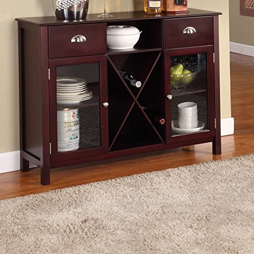 Cherry Dining Room Buffet Sideboard Server with Glass Doors & Wine Rack