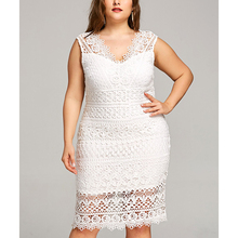 White V-neck fat women lace dress patterns sleeveless dress