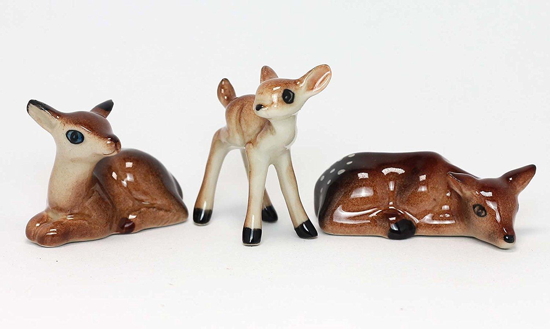 Ceramic Deer Set Figurine Miniature Hand Painted