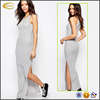 Ecoach 2016 Wholesale Custom Logo Gray 49% Cotton 48% Polyester 3% Elastane Round Neckline Knitted Maxi Dress