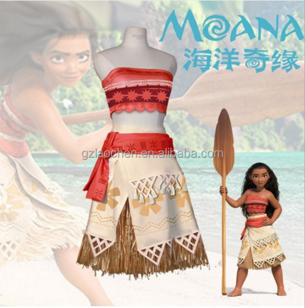 Factory price cosplay princess moana costume dress for kids and adults in stock