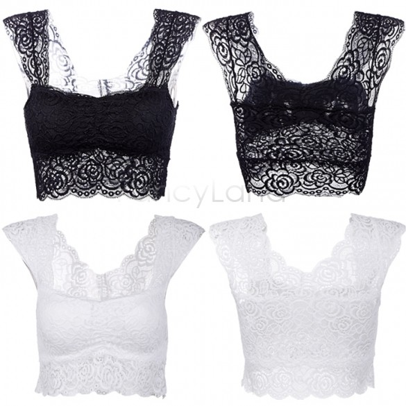 89267c874c27e Get Quotations · Spring Summer Sexy Lace Crop Top Camisole Pad Hollow-out  Lace Soft Vest Bra Women