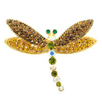 P168-797 gold yellow crystal dragonfly brooch and pins
