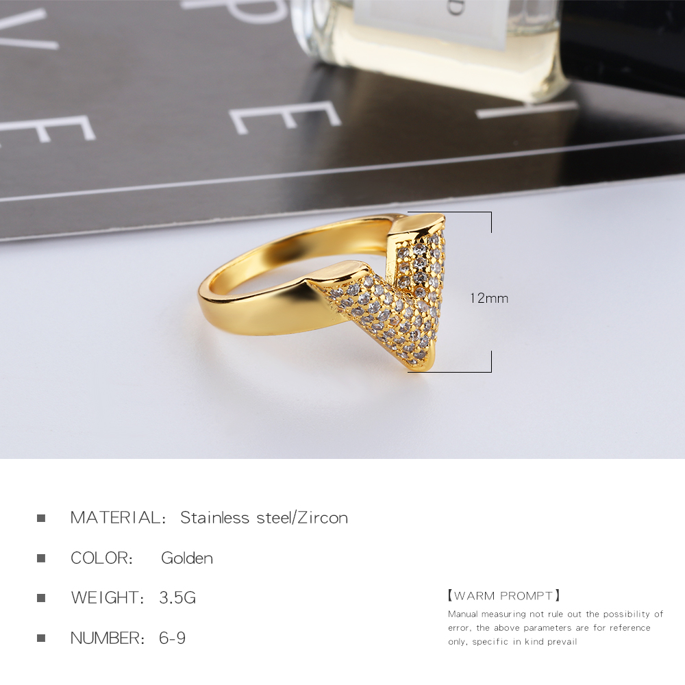 Elegant Fashion Crystal Jewelry Women Luxury V Shape Zircon Gold Ring Women