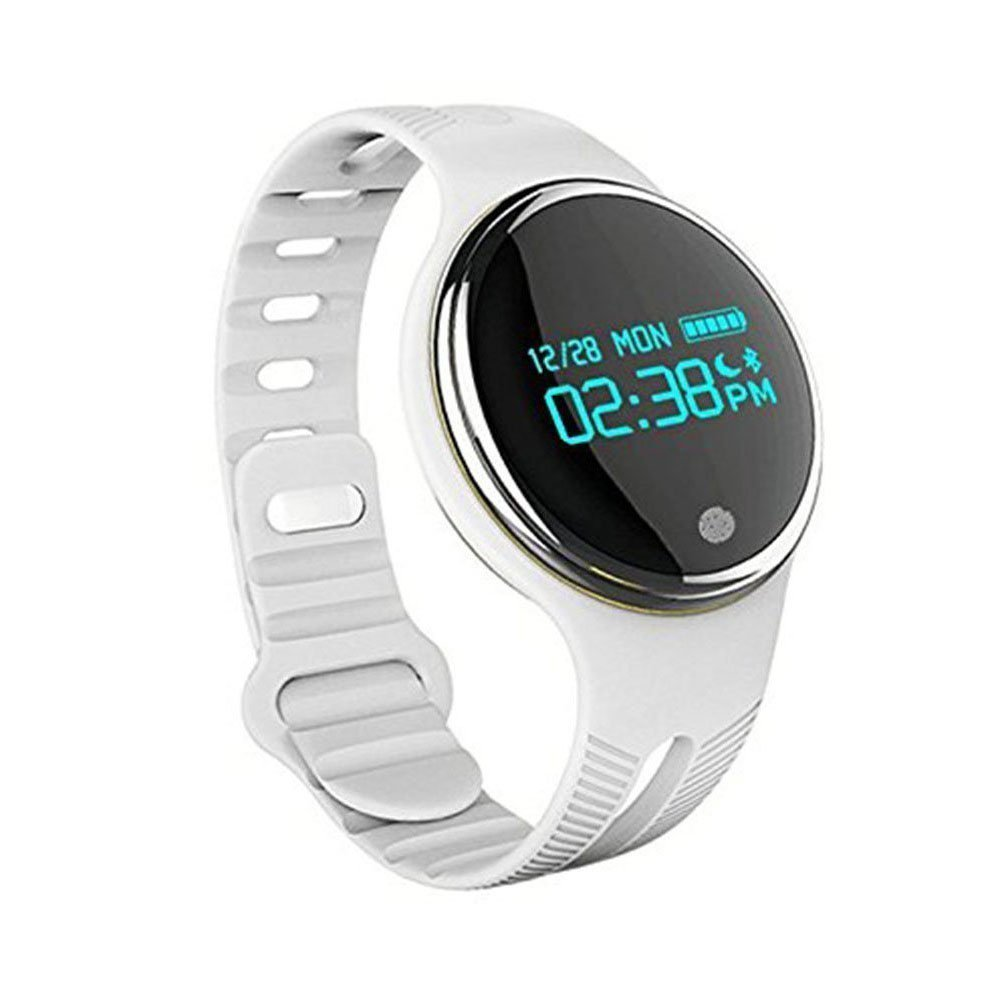 OWIKAR New Smart Sports Watch Bracelet Waterproof Fitness Tracker Smart Wristband E07 Pedometer Sleep Monitor Watches OLED Screen Bluetooth Sync For Android IOS iphone Samsung Smartphones (white)