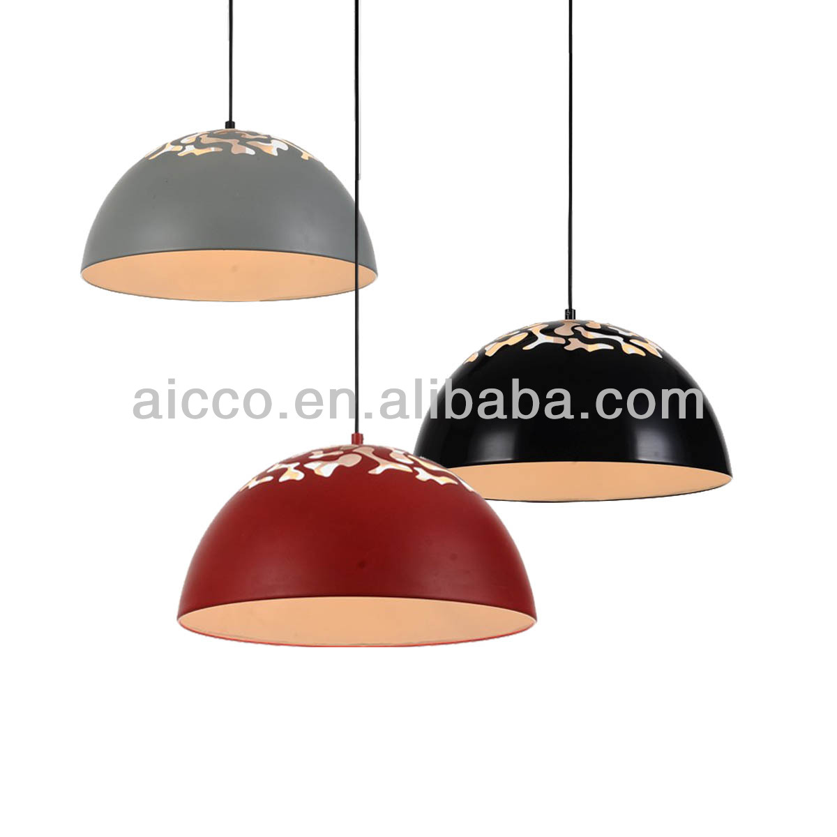 Modern Led Half Circle Metal Shade With Hollow Carved Pendant ...