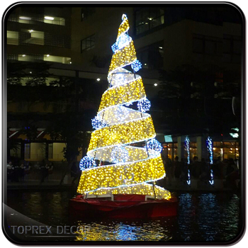 Giant outdoor commercial lighted metal spiral rope light christmas tree for plaza & Giant Outdoor Commercial Lighted Metal Spiral Rope Light Christmas ...