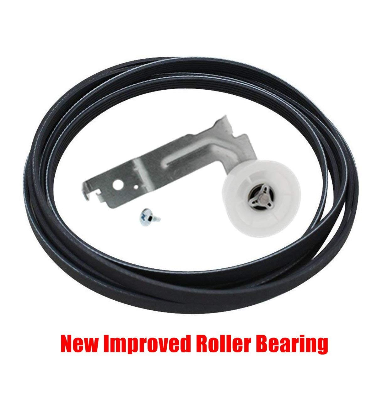 (EXP655) Dryer Belt & Idler Pulley Replaces WPW10205415, 12002777, W10205415, PS11750299, AP6017004, AP4010261, PS2004052