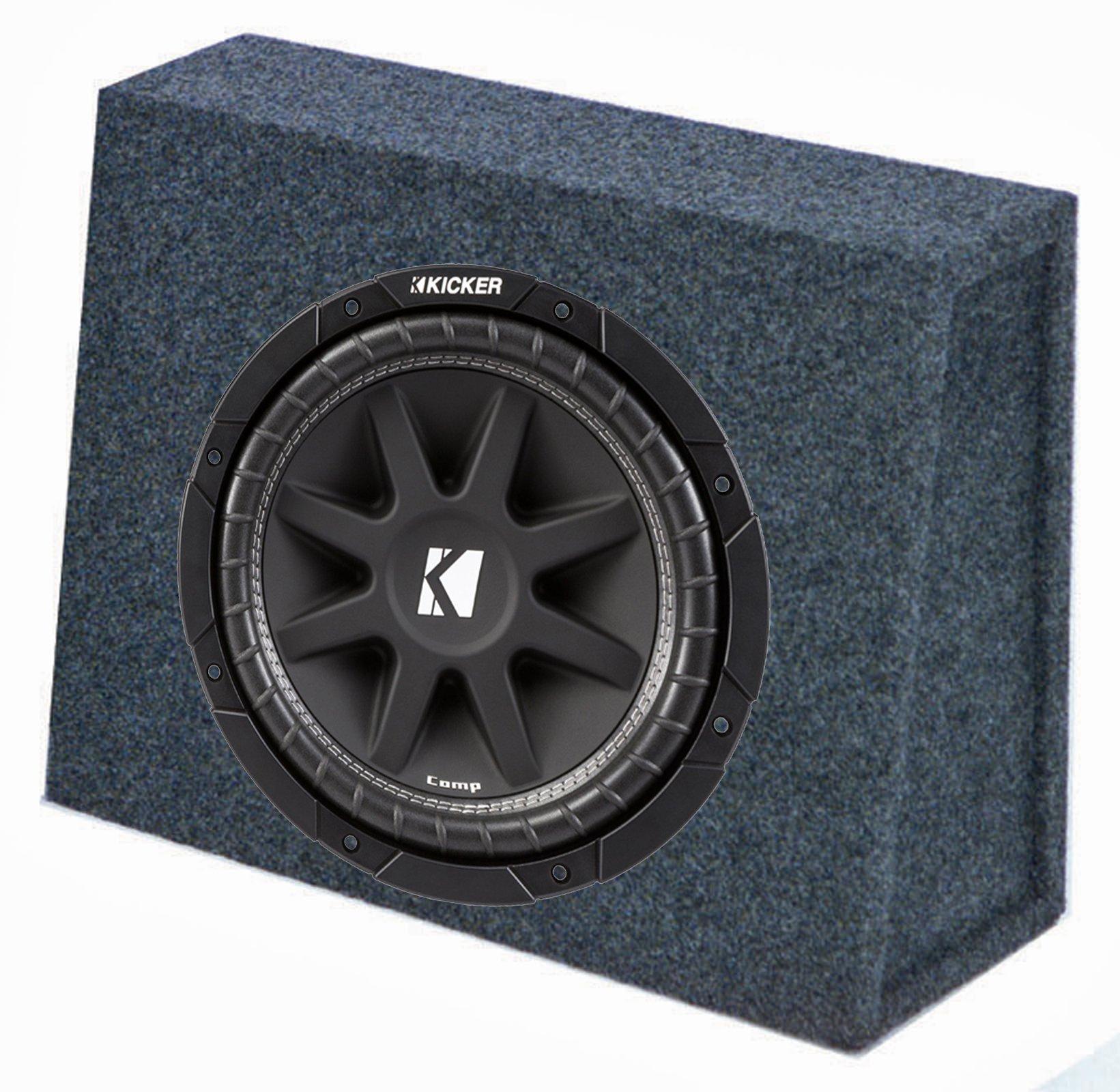 "Kicker 10C104 10"" 300W 4-Ohm Car Audio Subwoofer Sub + Slim Shallow Truck"