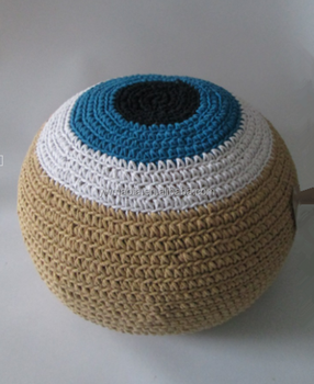 Hight Quality 100% Cotton Foot Stools Crochet Evil Eyes Round Pouf Ottoman  Knitting Pattern Pouffe - Buy Round Pouf Ottoman,Evil Eyes Pouf,Knitting