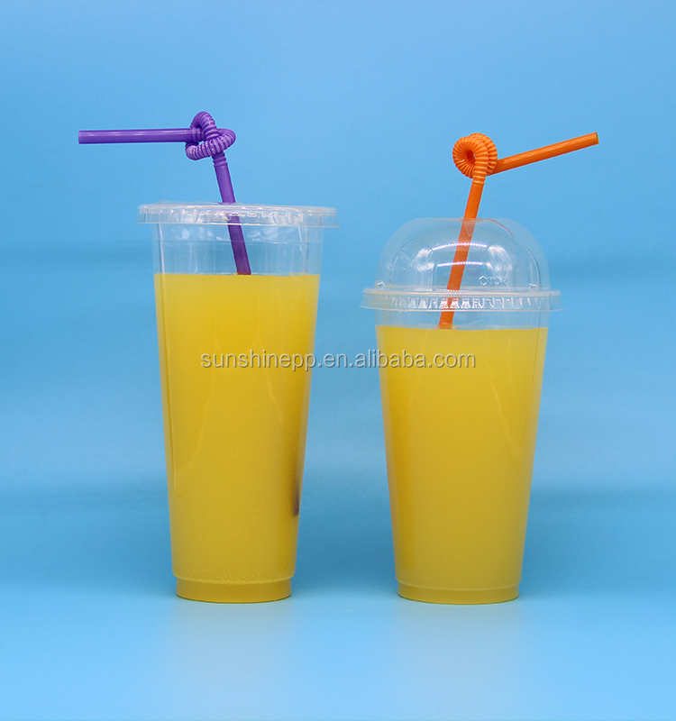 16oz Custom Printed Take Away Fruit Juice Plastic Cup With Straw