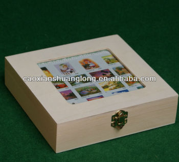 New Unfinished Square Wooden Box With Photo Frame Lid Buy Wooden