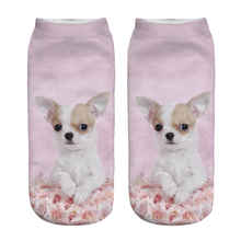 Free Shipping Hot Sale 3D Socks Rose Dog Pattern Pink Color Cozy Socks Thin Comfortable Socks