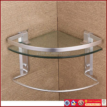 1600a aluminum single corner glass shelf with towel bar bathroom glass corner shelves tempered glass 8mm - Bathroom Glass Shelves