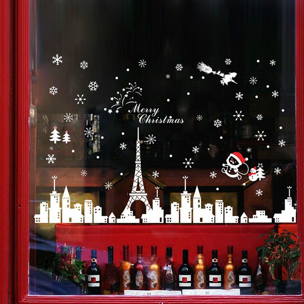 Petit Bella Paris Eiffel Tower Santa Claus &Snowman Christmas Decorations Decals Christmas Tree Christmas Stockings Wall Sticker Window Sticker For Bedroom&Living Room&Door