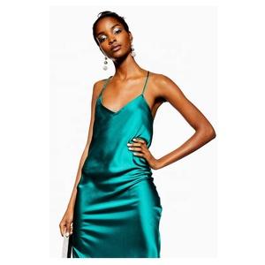 80e7d83d2ee3fc women s fashion ankle-length sexy green plain satin slip casual dress