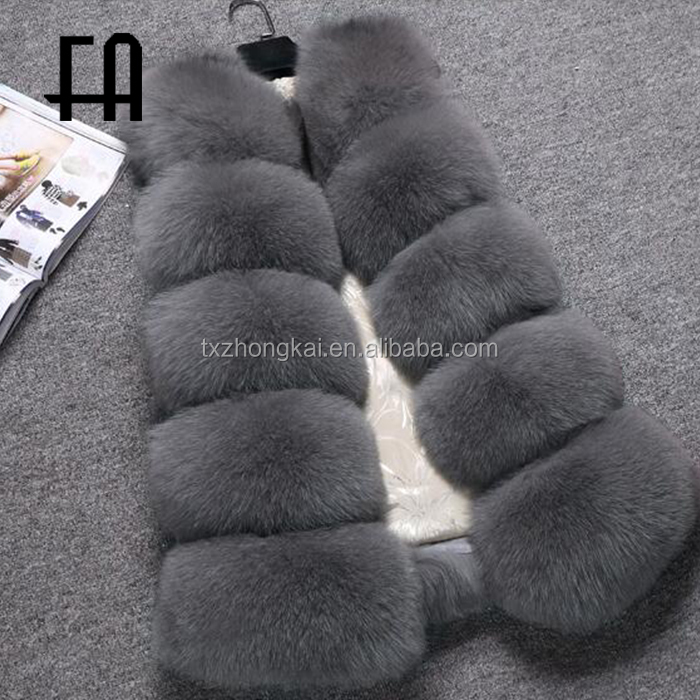 Factory direct fashion women long fox fur gilet / fox fur vest