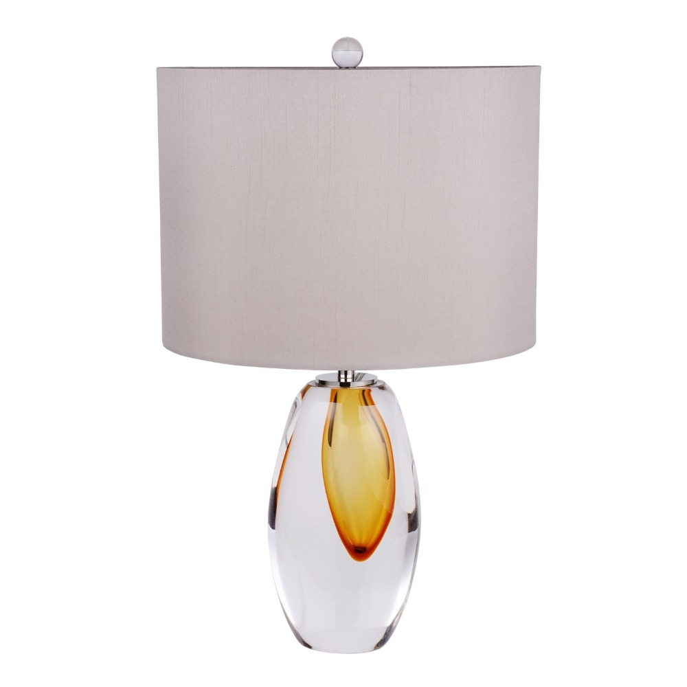 Unique Design Crystal Hand Blown Glass Table <strong>Lamp</strong> in Amber with Gray Lampshade Murano Glass Table <strong>lamps</strong> for Bedroom
