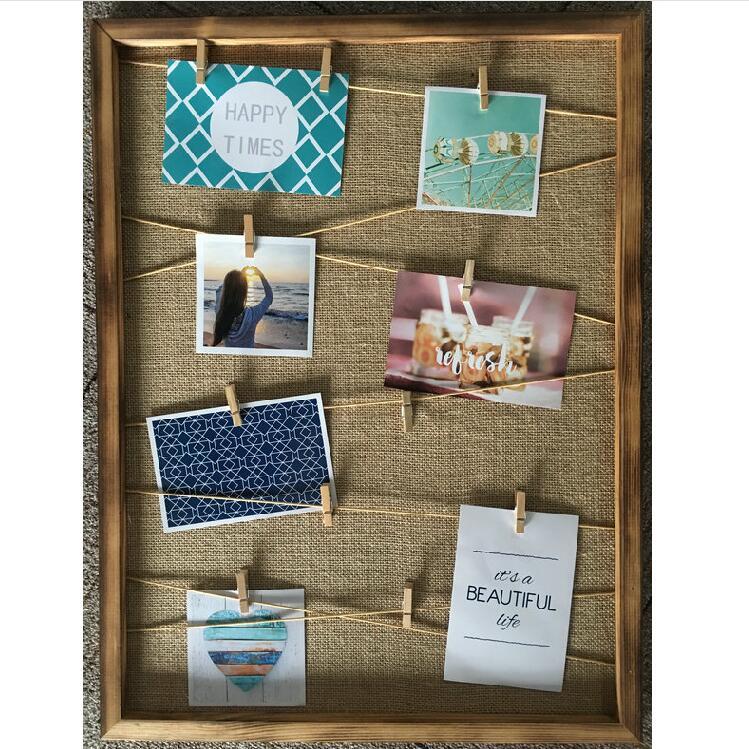 suspendus galerie sur ligne papier photo cadres en bois pince la corde de chanvre cadre id de. Black Bedroom Furniture Sets. Home Design Ideas