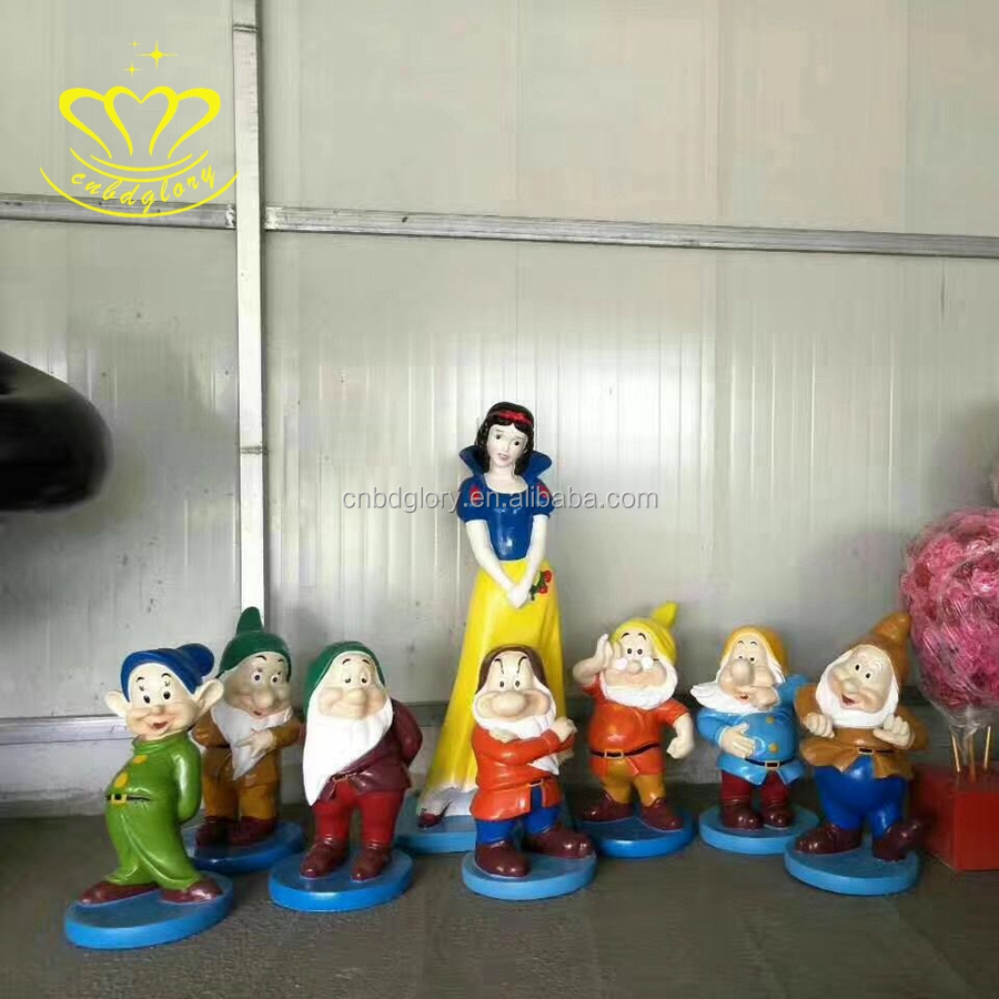 4Tube Cartoon china suppliers new product fiberglass resin sculpture snow white and the  seven dwarfs