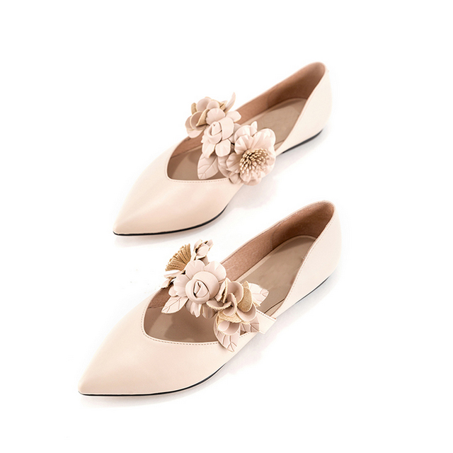 shoes flower shoes 3D lady's skin Mary Jane flat fairy 6t6ngwx