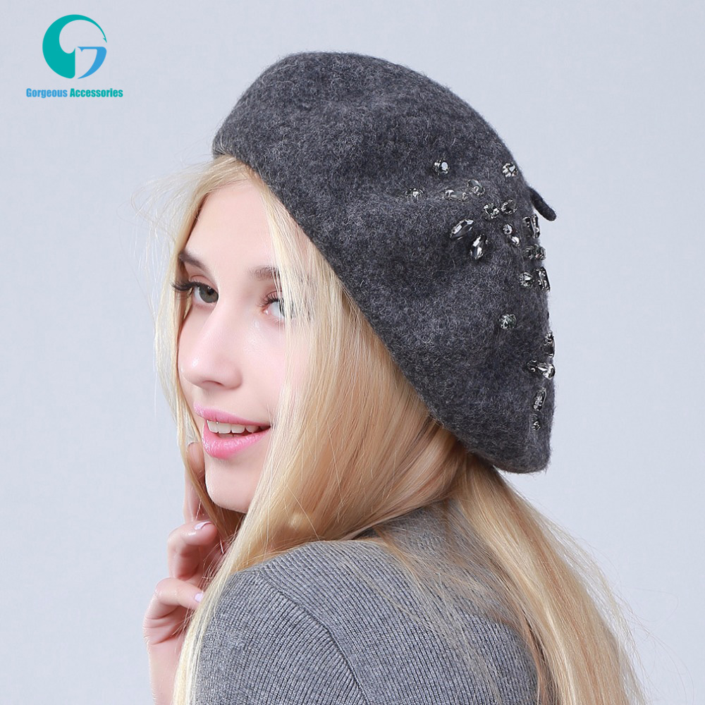 Women's Beret Hat Fashion Solid Color Wool Knitted Berets With Rhinestones Ladies French Artist Beanie Beret Hat