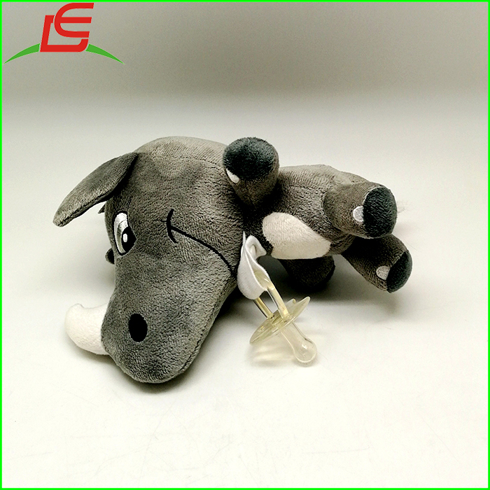 Custom Stuffing Plush Cute Rhinoceros Baby Pacifier Clip