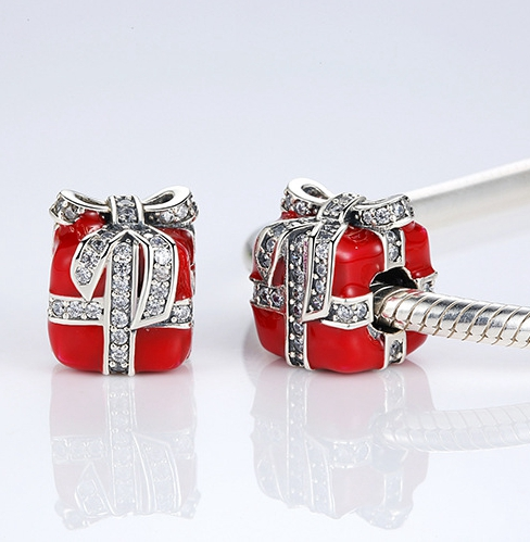 Christmas Jewelry Gift Drops Of Oil Box Shape DIY Charm 925 Sterling Silver Bracelet Beads