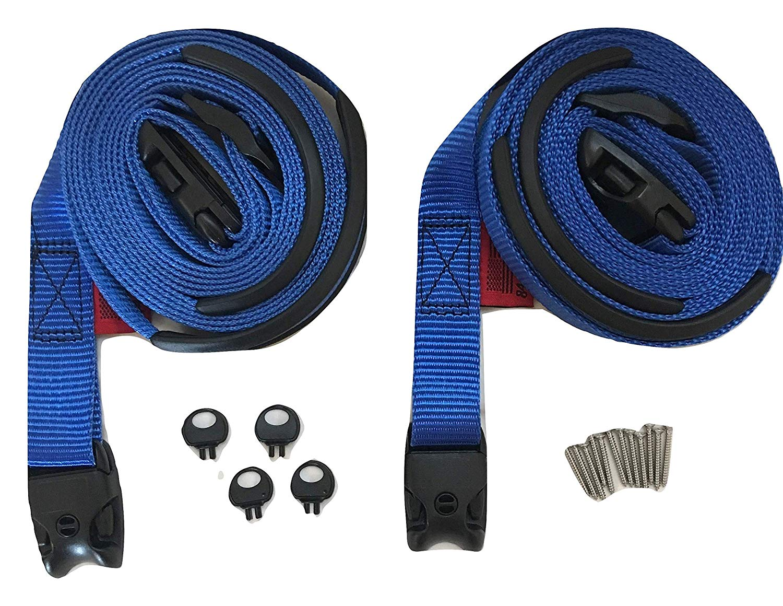 RatchetStrap.Com 2 pc Wind Strap Kit Hot Tub Secure ACW LOC Spa Hurricane Tie Down 12 Ft - Blue