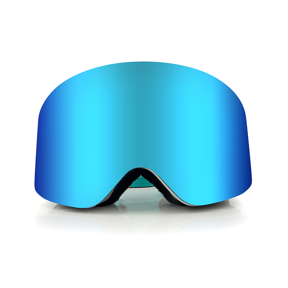 Frameless magnetic review anti-fog dual lens snowboard glass ski goggle