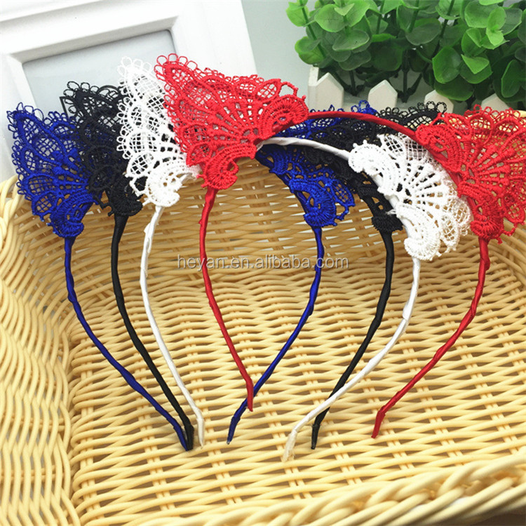 2017 new design cheap lace cat ears hair band women cat headband