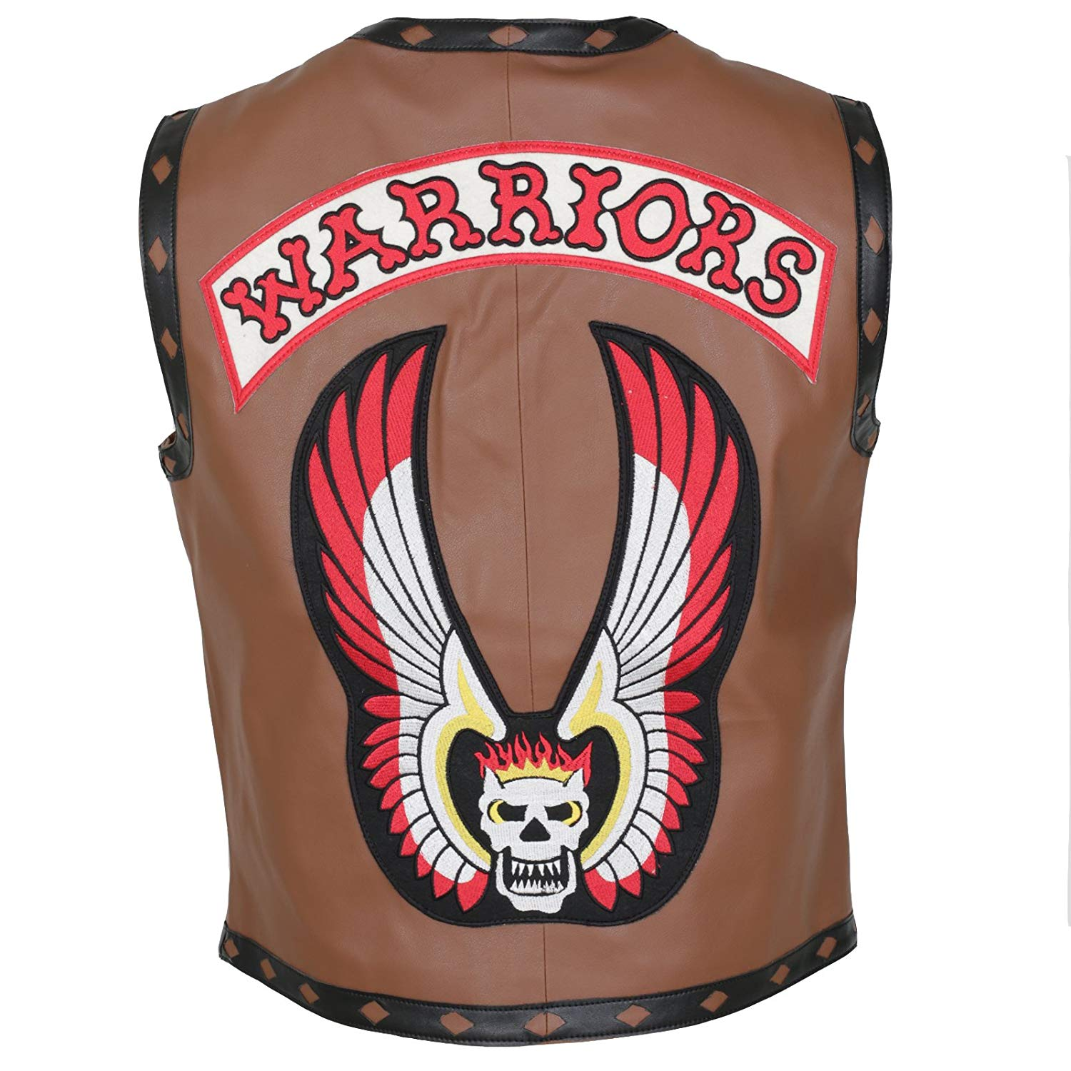 Herts Leather The Real Warrior Style Skull Emroidered Mens Faux Leather HQ Vest In Brown