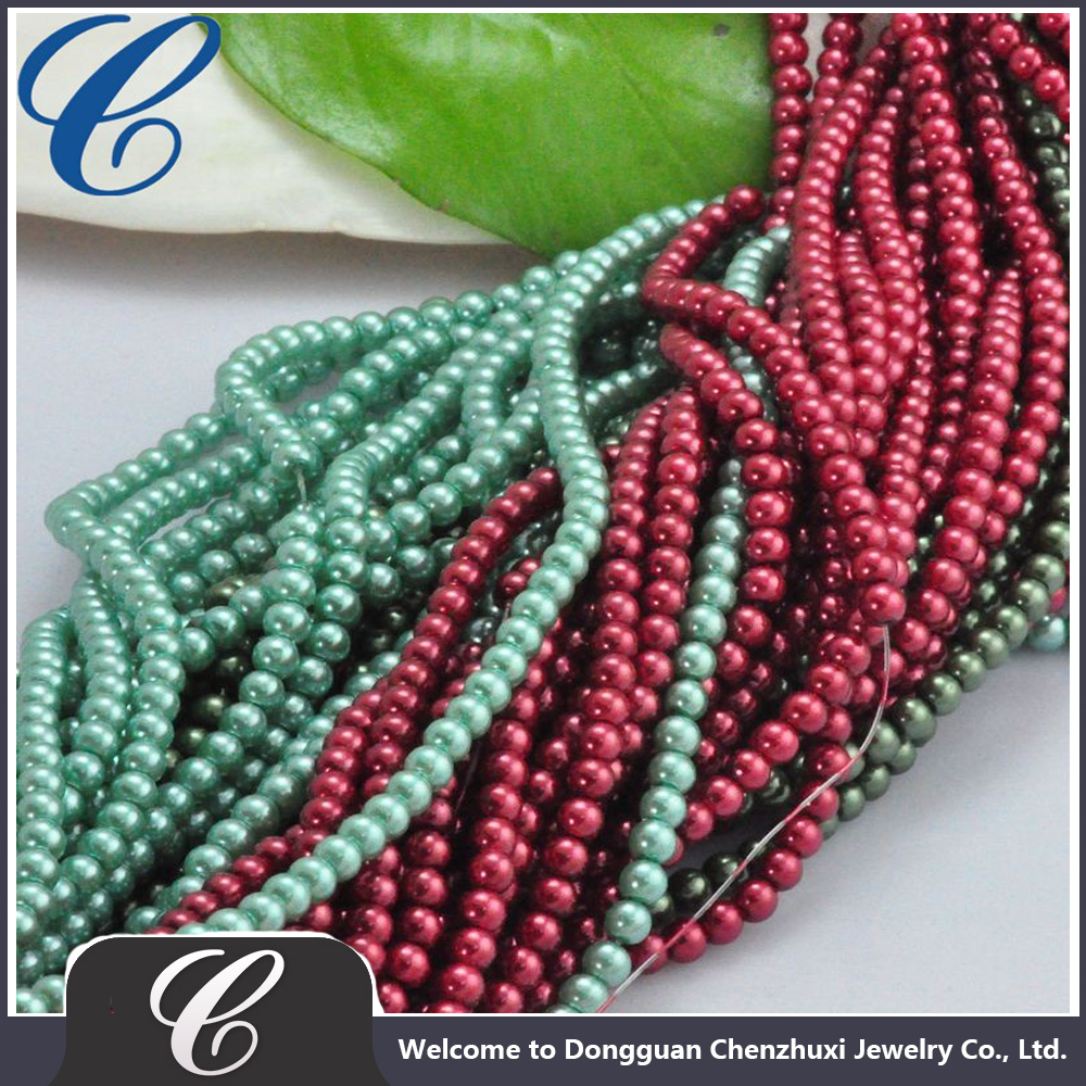 "CZX11252 6mm Strands Mixed Round Glass Beads 32""glass imitation pearl beads!Loose glass pearl for DIY jewelry"