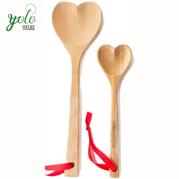 Vintage Country Engraved love Heart Shaped kitchen Bamboo Wooden Serving Mixing Utensil Spoon