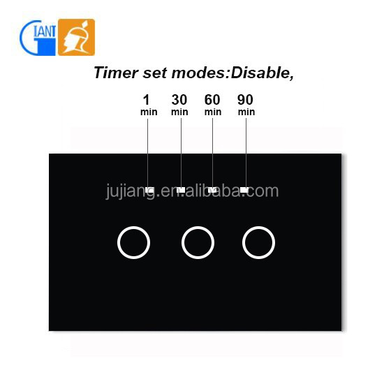 wall touch switch timer function dimer light switch JJ-USA-03AB
