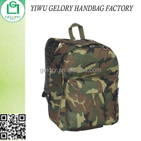 Digital Camo Classic Polyester school backpack waterproof day back sack w/Padded shoulder strap double zipper pockets