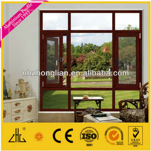 HOT!!Thermal Break Double Opening Aluminum Frame Glass Window with steel protective screening for bedroom of villa/house/hotel