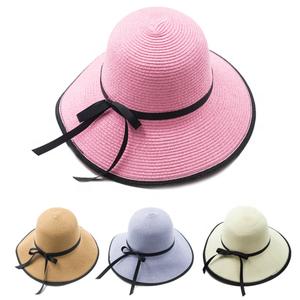 3a426effefa Summer Classic Straw Panama Fedora Sun Hat In Solid Color W  Black  Grosgrain Band Trim